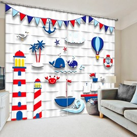 Cute Sailing Dream 3D Printed Polyester Curtain