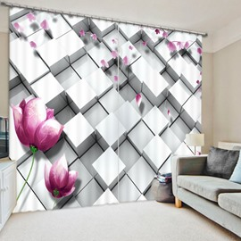 Three-Dimensional Lattice and Flower Printed Polyester Curtain