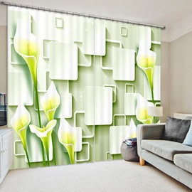 Tulip and Geometric 3D Printed Polyester Curtain