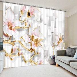 Exquisite Relief Magnolia 3D Printed Polyester Curtain