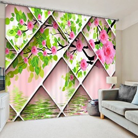 Unique Pink Flowers 3D Printed Polyester Curtain