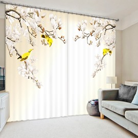 Yellow Birds on the Tree 3D Printed Polyester Curtain