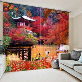 3D Temple and Red Maple Trees Printed Natural Scenery Custom Living Room Curtain