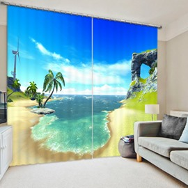Blue Sky and Green Coconut Tree Coastal 3D Printed Polyester Curtain