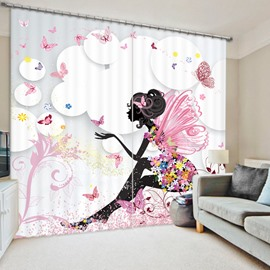 Butterfly Girl Sitting in Pink Flowers 3D Printed Polyester Curtain