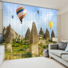 Colorful Balloon Flying in the Air 3D Printed Polyester Curtain