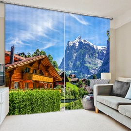 Countryside Holiday Villa 3D Printed Polyester Curtain