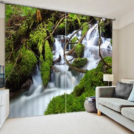 The Waterfall in the Jungle 3D Printed Polyester Curtain