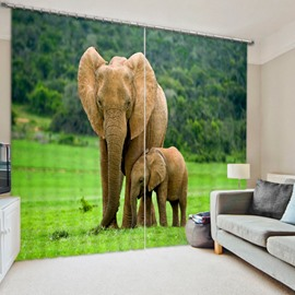 Little Elephant with Its Mom Water-Proof and Dust-Proof 3D Polyester Curtain