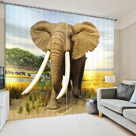 3D Elephant Printed Vivid Scenery Thick Polyester Living Room and Bedroom Curtain