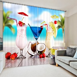 Delicious Beach Drinks 3D Printed Polyester Curtain