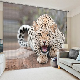 3D Angry Leopard Roaring Cheetah Printed 2 Panels Thick Polyester Living Room Window Curtain