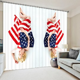 3D Sleeping Beauty with American Flag Printed Creative and Wonderful Living Room Curtain