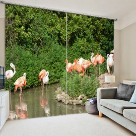 3D Flamingos with River and Trees Printed Thick Polyester 2 Panels Curtain