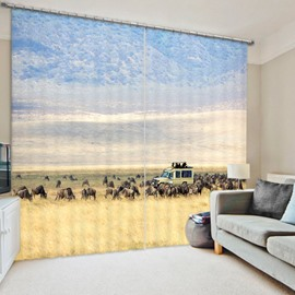 3D Rhinoceros in African Grassland Printed 2 Panels Thick Polyester Curtain