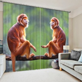 Two Lovely and Vivid Monkeys Thick Polyester 3D Blackout and Decorative Window Curtain