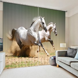 Two Running Horses on the Sand 3D Printed Decorative and Blackout Polyester Curtain