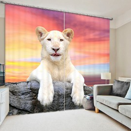 Vivid White Lion Lying on the Stone Bedroom and Living Room Thick Polyester Curtain