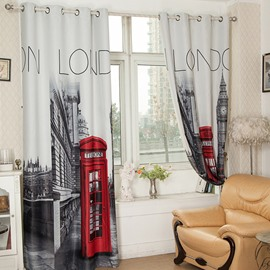 3D Red Public Telephone Booth and Old Buildings Printed Retro Style Blackout Curtain