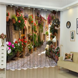 3D Retro Alley with Beautiful Flowers Printed European Style Blackout and Shading Curtain