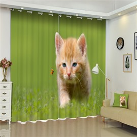3D Lovely and Adorable Cat Printed Animals Style Hello Kitty Decorative and Shading Curtain