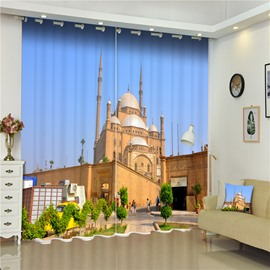 3D Mosque of Mohammed Ali Printed Famous and Wonderful Building Scenery Decorative Curtain