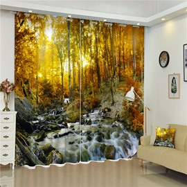 3D Flowing Water Yellow Leaves and Trees Printed Amazing Autumn 2 Panels Shading Curtain