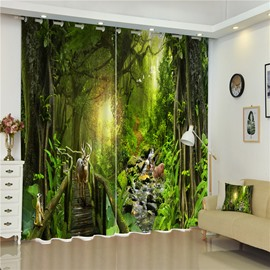 3D Elks and Wooden Bridge with Thick Green Printed Wonderful Scenery 2 Panels Shading Curtain