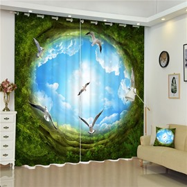 3D Swallows and Green Trees with Blue Sky Printed Beautiful Scenery Dust-Proof Curtain