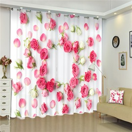 3D Pink Roses Printed Rose the Ocean of Red Rose Thick Polyester Blackout Curtain
