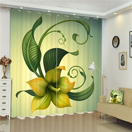 3D Beige Lily Flowers Printed Elegant Scenery Bed Room and Living Room Curtain