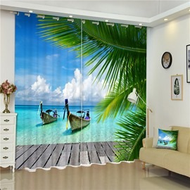 3D Boats and Green Conifers with Blue Sea Printed Thick Polyester Beach Scenery Curtain