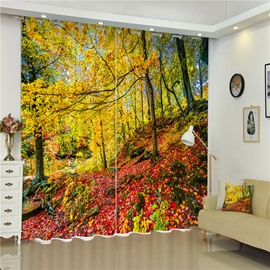 3D Yellow Leaves and Red Ground Printed Autumn Scenery Living Room and Bedroom Curtain