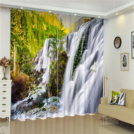 Green Trees and Flowing River Wonderful Scenery Living Room and Bedroom 3D Curtain