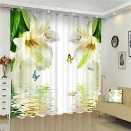 Beige Lily Flowers Elegant and Pastoral Style 3D Living Room and Bedroom Curtain