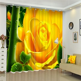 Charming and Golden Roses 3D Blackout and Decorative 2 Panels Bedroom Curtain