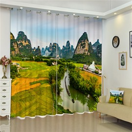 Thick Green Terrace and Rice with River Printed Natural Beauty 2 Pieces Room Curtain