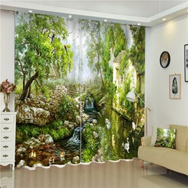 3D Stone House and Flowing Water Printed Natural Scenery Thick Polyester Room Curtain