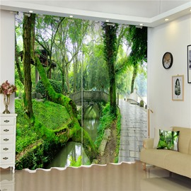 3D Green Trees and Small Slate Road Printed Thick Polyester 2 Pieces Room Curtain