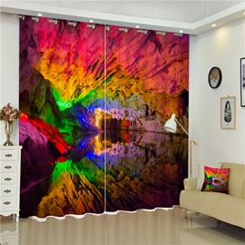 3D Amazing and Colorful Caves Printed Thick Polyester 2 Panels Blackout and Decorative Curtain