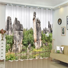 3D Stone Mountains and Peaceful Lake Printed Living Room and Bedroom 2 Panels Shading Curtain