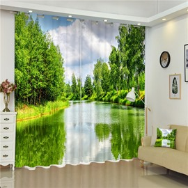 Peaceful Lake and Thick Green Trees 2 Panels Blackout and Decorative Bedroom Curtain