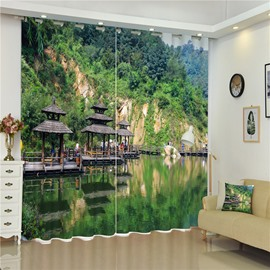 3D Ancient and Unique Pavilions and Mountains with Lake Printed Living Room Curtain