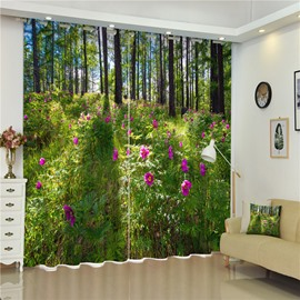 Bright Purple Peony Flowers with Sunlight Natural Beauty 3D Bedroom and Living Room Curtain