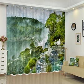 3D Magnificent Mountains and Rivers Printed Thick Polyester 2 Panels Living Room Curtain