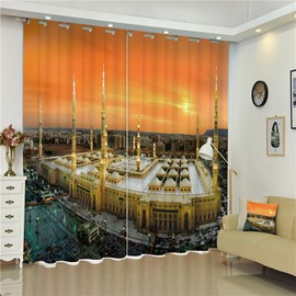 3D Tall Castles Wonderful Buildings Printed Thick Polyester 2 Panels Living Rom Curtain