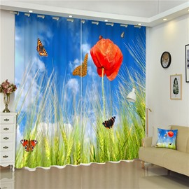 3D Wheat and Red Narcissus with Beautiful Butterflies Printed 2 Panels Grommet Top Curtain
