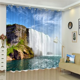 3D Magnificent Waterfall and Deep River Printed High Quality Living Room Curtain