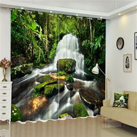 Surging Waterfall and Thick Forest High Quality Polyester Water-Proof and Shading 3D Curtain