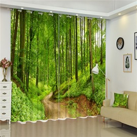 Thick Green Forest and Curved Road Natural Beauty Decorative and Shading 3D Curtain